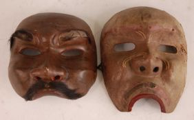 * A dance mask polychrome painted and with natural hair to the upper lip and eyebrows, 16 x 15cm,
