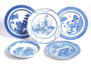 An 18th century blue and white pearlware plate, decorated in cobalt blue with a Chinese figure
