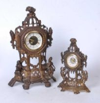 A reproduction pressed brass mantel clock, having a circular dial with Roman numerals, surmounted by