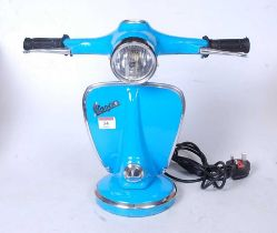 A modern table lamp in the form of a Vespa Scooter, height 36cm