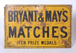A ***TIN LITHO (NOT ENAMEL)*** metal advertising sign for Bryant & May Matches, 28.5x43.5cmCondition