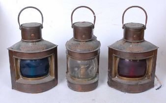 A pair of early 20th century copper ships lanterns for Port and Starboard, later converted, h.