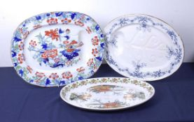 Assorted stoneware meat plates, to include Staffordshire ironstone examples, together with a