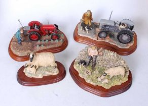 A collection of four Border Fine Arts figures to include Early Start, JH91B, Tractors Tattie