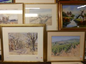 Lionel Aggett - Harvest time, pastel, signed lower left, 37x49cm, and one other watercolour by the