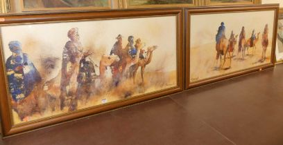 After N Meissonnier - Pair; Arabian desert scenes with travellers and camels, reproduction prints,