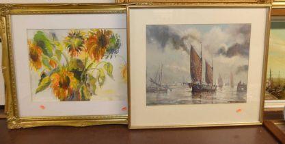 Mo Folkes-MIller (b.1947) - Sunflowers, watercolour, 35 x 47cm; and Jo Crowfoot (Raymond E.