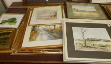 Richard Cox - Boxing hares, watercolour; B Whitefield - Summer evening, pastel; Tom Green -