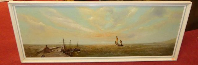 Mid-20th century English school - Harbour scene at sunset, oil on canvas, indistinctly signed