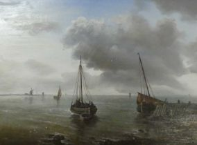 Attributed to John Moore of Ipswich(?) (1820-1902) - Boats on the calm, oil on panel, signed with