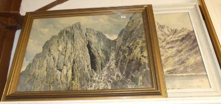 E Grieg Hall (20th century) - Pillar Rock, watercolour, signed lower left, 54 x 75cm; and one