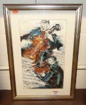 Bernard Rooke (b.1938) - The Orchestra, acrylic, signed upper left, 34 x 20cm