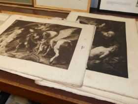 A collection of German published monochrome prints, reproducing the Old Masters, each full sheet