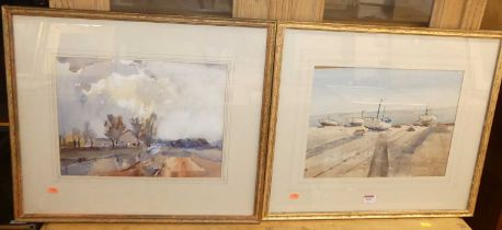 Arnold de Soet - A Country Road, and Aldeburgh, pair, watercolours, each signed lower right,