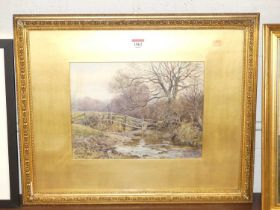 E Danny(?) - River landscape, watercolour heightened with white, indistinctly signed and dated