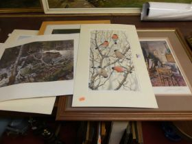 Assorted framed and unframed prints, to include J MacIntosh Patrick 'The Artists Studio'