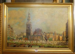 Francis Ives Naylor - a London? square, oil on canvas, signed lower right, 50x75cm