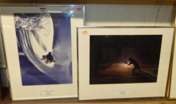 A framed photograph of Leo Mason doing the Cresta Run, San Moritz; and one other of Clive