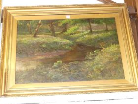 Firth - A woodland river, oil on canvas, signed and indistinctly dated lower right, 50 x 75cm