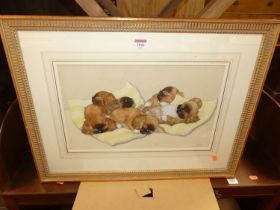 Chloë Preston (1887-1969) - Sleeping pups, 26 x 41cm
