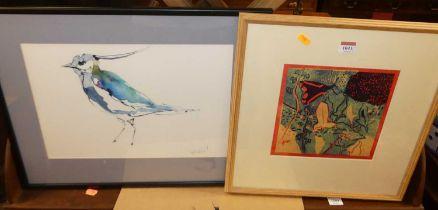 Kim Atkinson (contemporary) - Cinnabar Moth, relief print No.3/6, 21 x 21cm; together with a bird