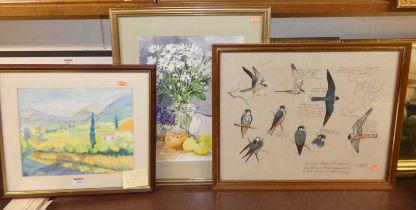 Jenny Stewart - Mediterranean landscape, watercolour, 26 x 30cm; Lorraine Bird - Still life,