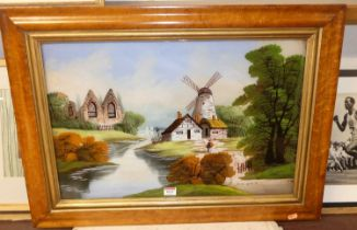 Dutch school - landscape scene, reverse painting on glass, 40x60cm