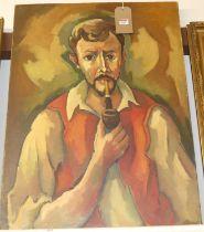 20th century school - Half-length portrait of a pipe-smoking man, oil on canvas, 81 x 60cm (