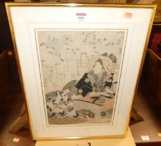A 19th century Japanese woodblock, signed and with studio seal, 36 x 25cm