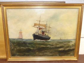 Late 19th century English school - Steamship returning home, oil on card, signed with monogram EMG