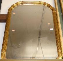 A reproduction gilt framed rectangular wall mirror, 93x63cm