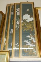 A set of four Chinese gouache on silk being bamboo and flower studies, each signed, 99x20cmCondition