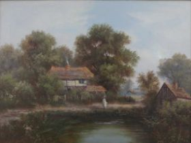 Henry John Kinnaird (act.1880-1920) - Lone figure before a pond with timbered cottage behind, oil on