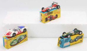 A group of 3 boxed Corgi racing cars as follows: 330 Porsche Carrera 6 in a good-excellent box,