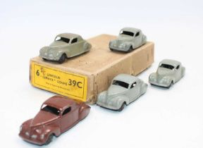 Dinky Toys No.39c Lincoln Zephyr Coupe Trade box complete with inner dividers, together with 5