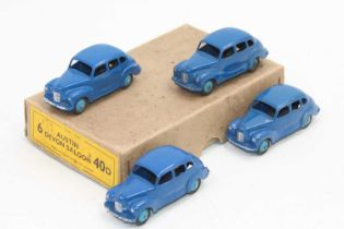 Dinky Toys 40d original Trade box containing 4 Austin Devon saloons in blue, all in very good