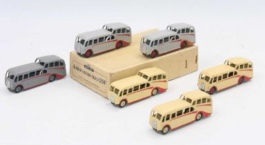An original No.29f Dinky Trade box of 6x Observation coaches (3 in cream colour and 3 in grey) all