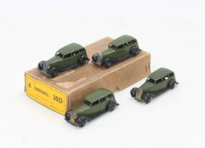 Dinky Toys No.30d original Vauxhall Trade box containing 4 examples in green some with age-related