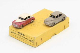 Dinky Toys 40g original Trade box containing 2 Morris Oxford saloons, one in fawn with brown hubs