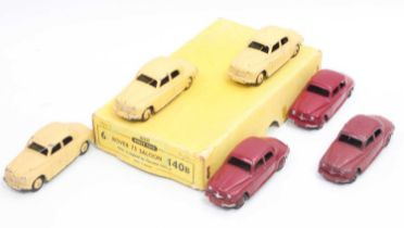 Dinky Toys 140b original Trade box of 6 Rover 75 saloons one appears near mint, others with some
