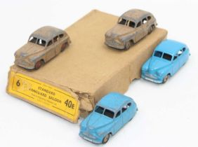 Dinky Toys 40e original Trade box of, Standard Vanguard Saloons, 4 models include, two in fawn