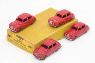 Dinky Toys 40j original Trade box containing 4 Austin Somersets saloons in red all in superb