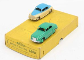 Dinky Toys 140b original Trade box lid with reproduction base, containing two Rover 75 saloons one