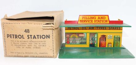 """Dinky Toys Pre-War No.48 Petrol Station in green and yellow with the """"Filling and Service Station"""""""