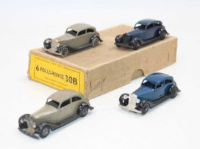 """Dinky toys no.30b Rolls-Royce"""" saloon Trade box of 4 with 3 original models with age-wear and one"""