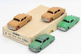 """Dinky Toys 139a original Trade box containing 4 Ford """"Fordor"""" Sedan saloon cars, 2 in tan with red"""