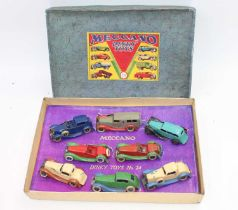 Dinky pre-war no.24 gift set with original base and lid and reproduction inner packing, all models