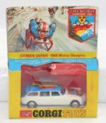 A Corgi Toys Citroen Safari 1968 Winter Olympics, model is near mint with accessories still attached