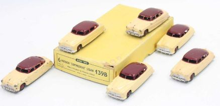 """Dinky Toys 139b original Trade box containing 6 Hudson """"Commodore"""" Sedan saloon cars, all in two-"""
