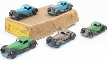 Dinky Toys No.36b Bentley Two Seater Sports cars in original Trade box containing 5 examples in
